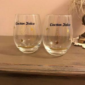 Fun cacti wine glasses